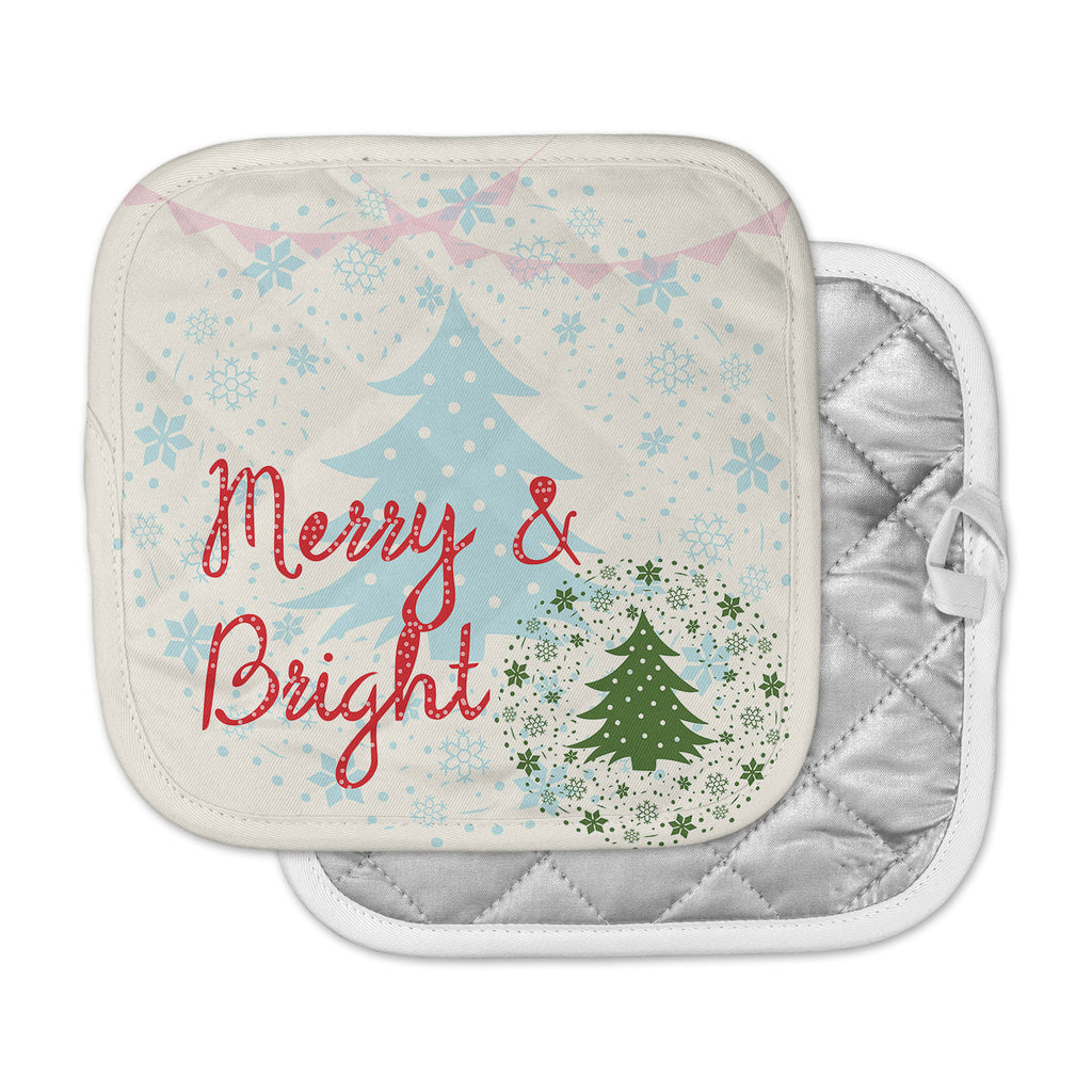 "Famenxt ""Merry And Bright"" Holiday Typography Pot Holder"