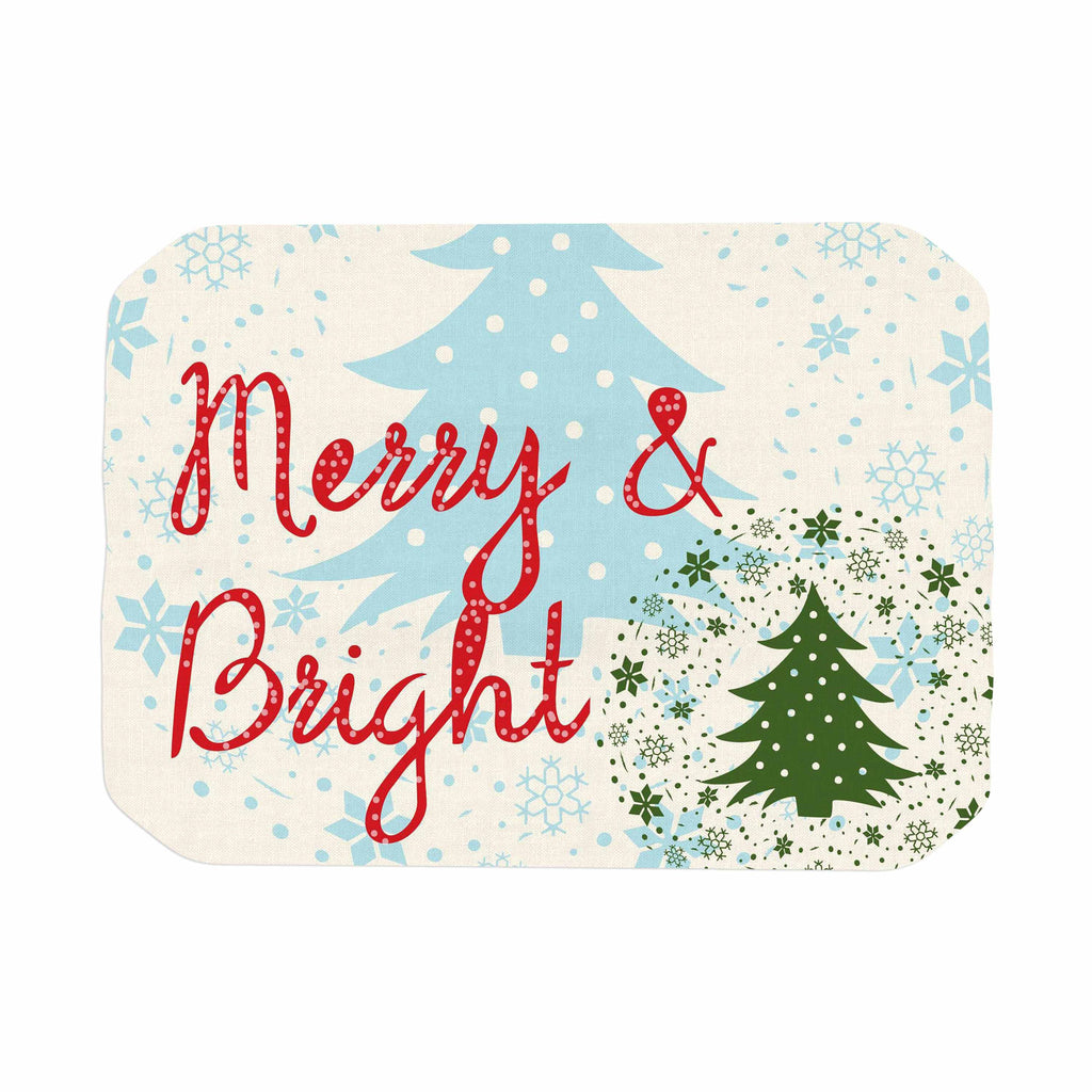 "Famenxt ""Merry And Bright"" Holiday Typography Place Mat - KESS InHouse"