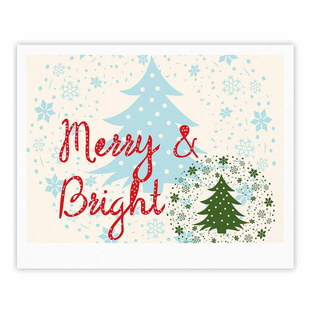 "Famenxt ""Merry And Bright"" Holiday Typography Fine Art Gallery Print - KESS InHouse"