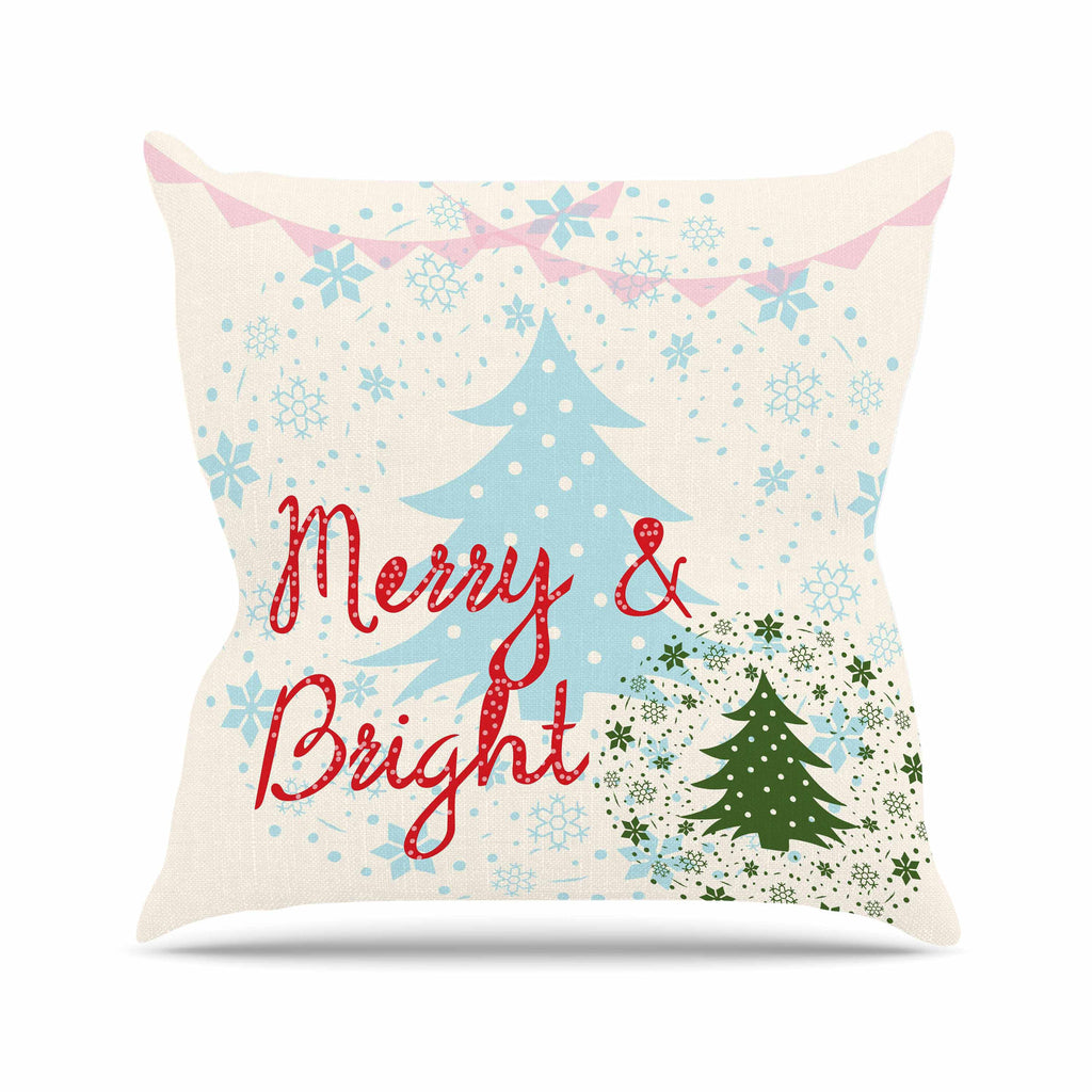 "Famenxt ""Merry And Bright"" Holiday Typography Outdoor Throw Pillow - KESS InHouse  - 1"