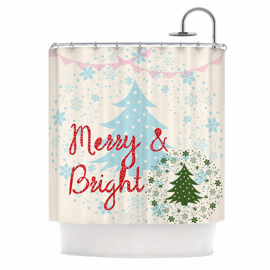 "Famenxt ""Merry And Bright"" Holiday Typography Shower Curtain - KESS InHouse"
