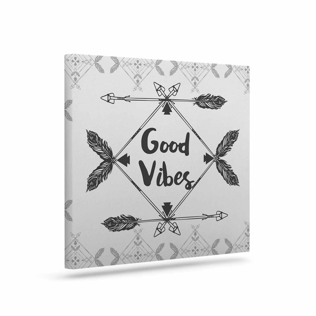 "Famenxt ""Boho Good Vibes"" Black Gray Canvas Art - KESS InHouse  - 1"