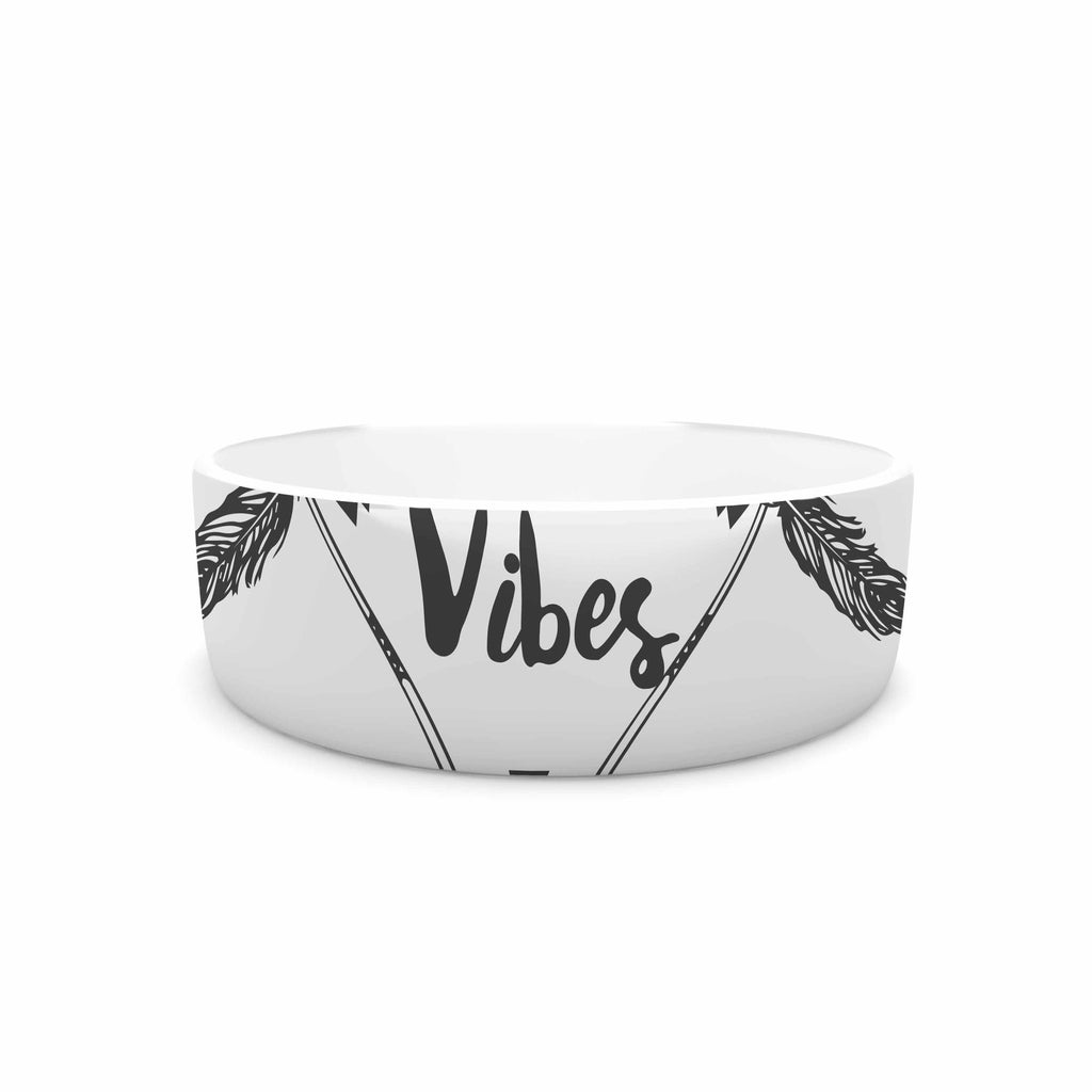 "Famenxt ""Boho Good Vibes"" Black Gray Pet Bowl - KESS InHouse"