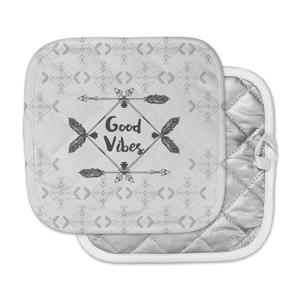 "Famenxt ""Boho Good Vibes"" Black Gray Pot Holder"