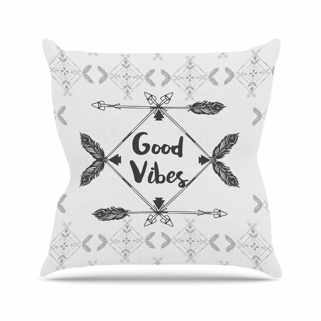 "Famenxt ""Boho Good Vibes"" Black Gray Outdoor Throw Pillow - KESS InHouse  - 1"