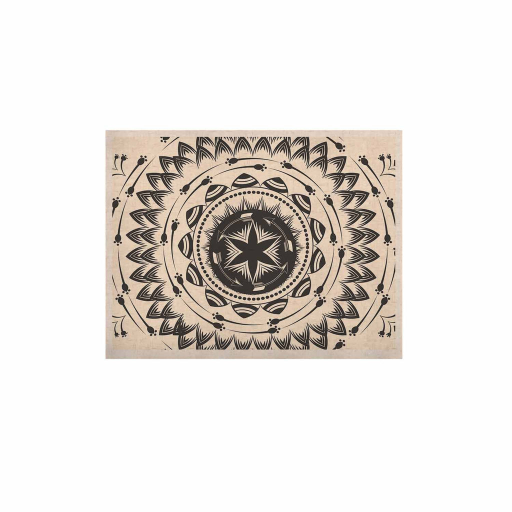 "Famenxt ""Boho Tribe Mandala"" Beige Black KESS Naturals Canvas (Frame not Included) - KESS InHouse  - 1"