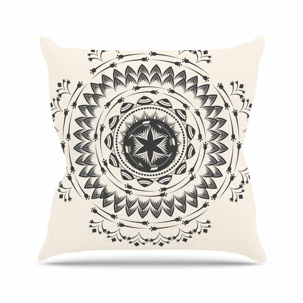 "Famenxt ""Boho Tribe Mandala"" Beige Black Outdoor Throw Pillow - KESS InHouse  - 1"