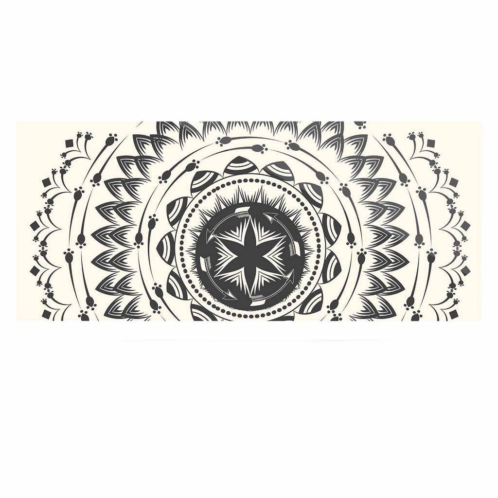 "Famenxt ""Boho Tribe Mandala"" Beige Black Luxe Rectangle Panel - KESS InHouse  - 1"
