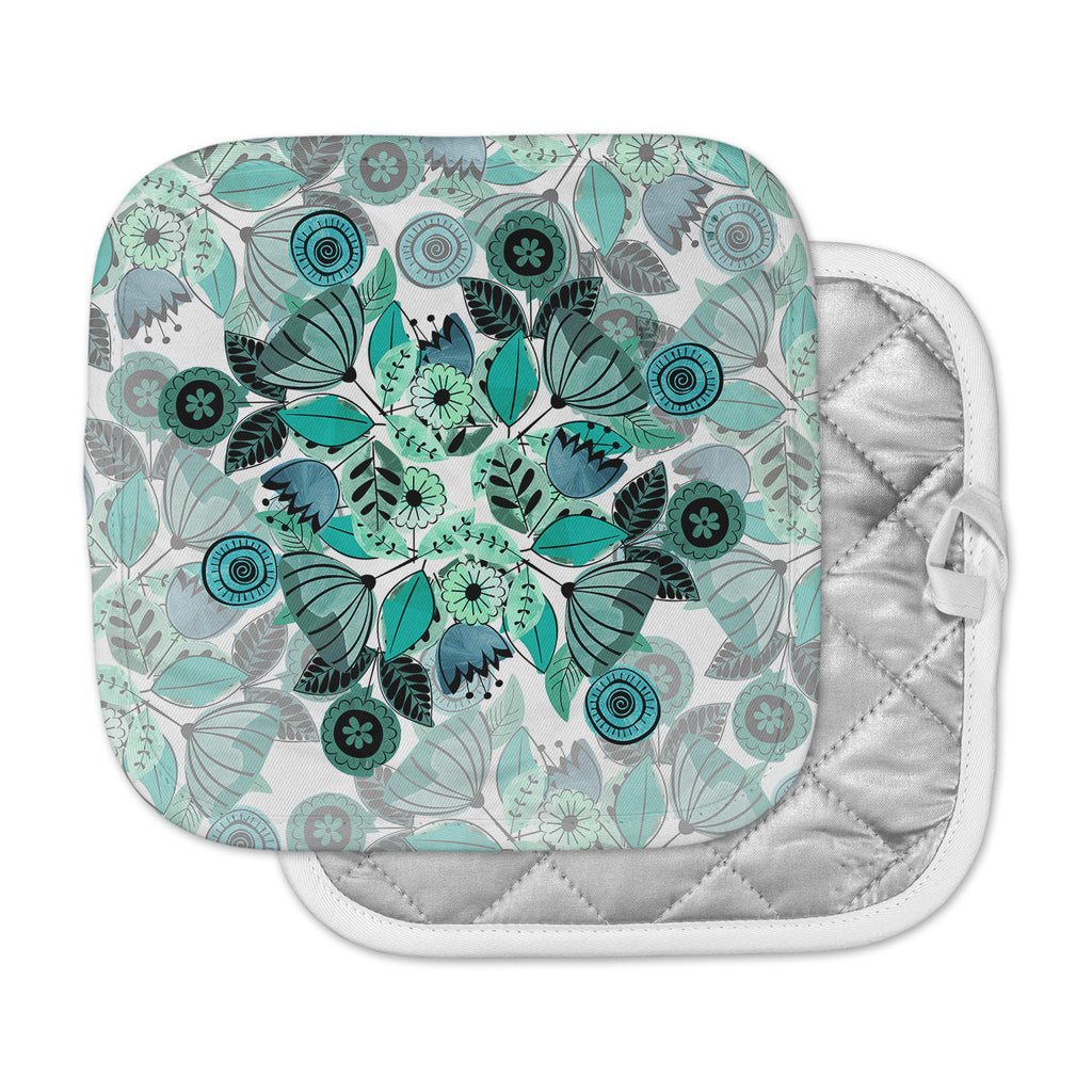 "Famenxt ""Mint Sognare"" Green Abstract Pot Holder"