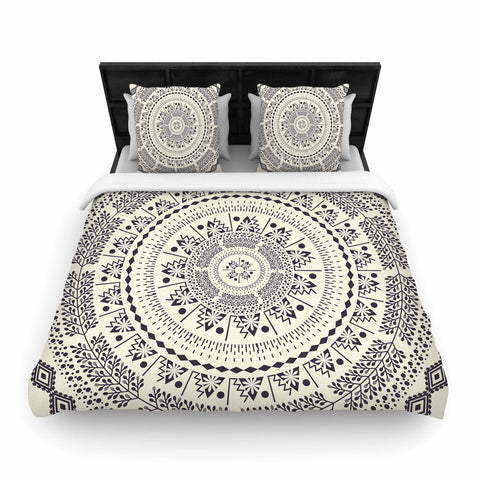 "Famenxt ""Swadesi Soft Boho Mandala"" Beige Illustration Woven Duvet Cover - Outlet Item"