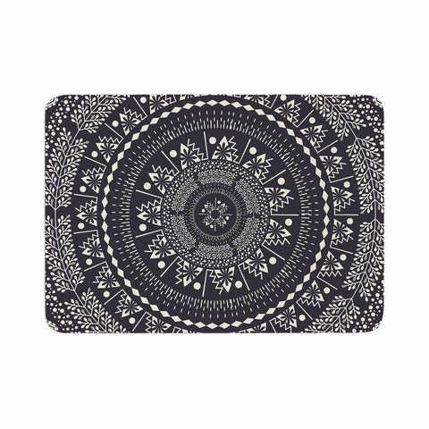 "Famenxt ""Swadesi Boho Mandala"" Black Illustration Memory Foam Bath Mat - Outlet Item"