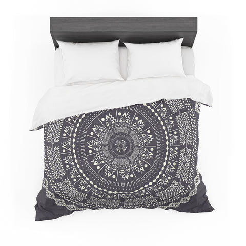 "Famenxt ""Swadesi Boho Mandala"" Black Illustration Featherweight Duvet Cover - Outlet Item"