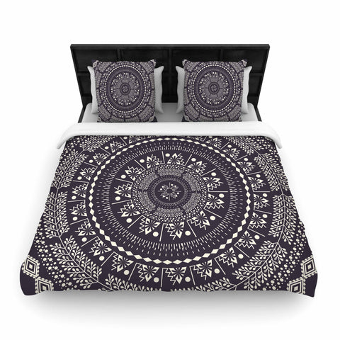 "Famenxt ""Swadesi Boho Mandala"" Black Illustration Woven Duvet Cover - Outlet Item"
