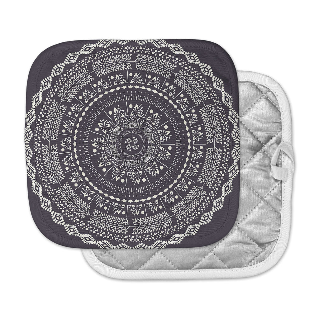 "Famenxt ""Swadesi Boho Mandala"" Black Illustration Pot Holder"