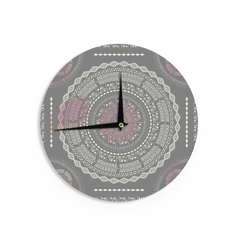 "Famenxt ""Culture Cut Boho Mandala"" Pink Ilustration Wall Clock - KESS InHouse"