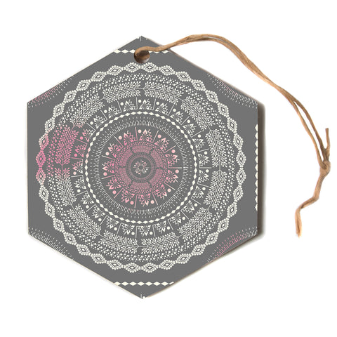 "Famenxt ""Culture Cut Boho Mandala"" Pink Ilustration Hexagon Holiday Ornament"