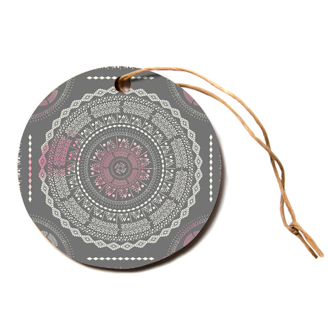 "Famenxt ""Culture Cut Boho Mandala"" Pink Ilustration Circle Holiday Ornament"