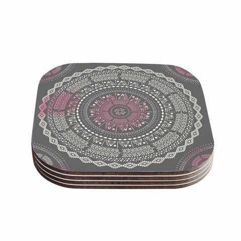 "Famenxt ""Culture Cut Boho Mandala"" Pink Ilustration Coasters (Set of 4)"