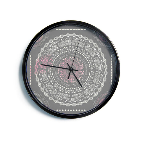 "Famenxt ""Culture Cut Boho Mandala"" Pink Ilustration Modern Wall Clock"