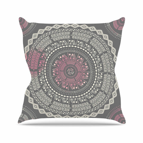 "Famenxt ""Culture Cut Boho Mandala"" Pink Ilustration Outdoor Throw Pillow - KESS InHouse  - 1"
