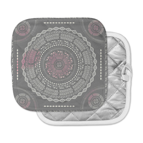 "Famenxt ""Culture Cut Boho Mandala"" Pink Ilustration Pot Holder"