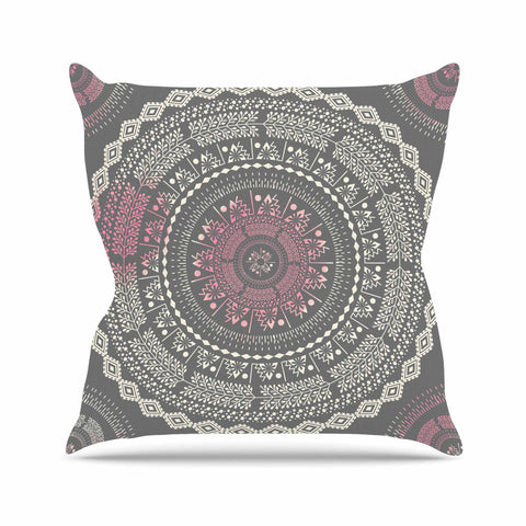 "Famenxt ""Culture Cut Boho Mandala"" Pink Ilustration Throw Pillow - KESS InHouse  - 1"