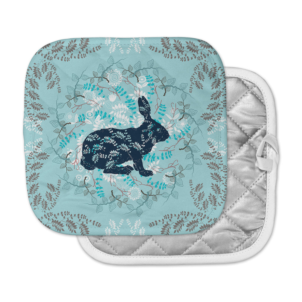 "Famenxt ""Bunny In The Jungle"" Blue Animals Pot Holder"