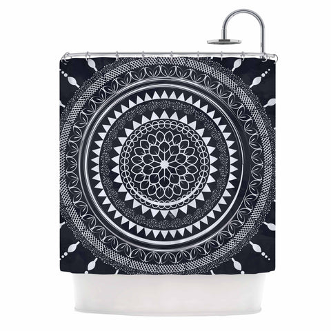 "Famenxt ""Boho Aegean Blue Mandala"" Gray White Shower Curtain - KESS InHouse"