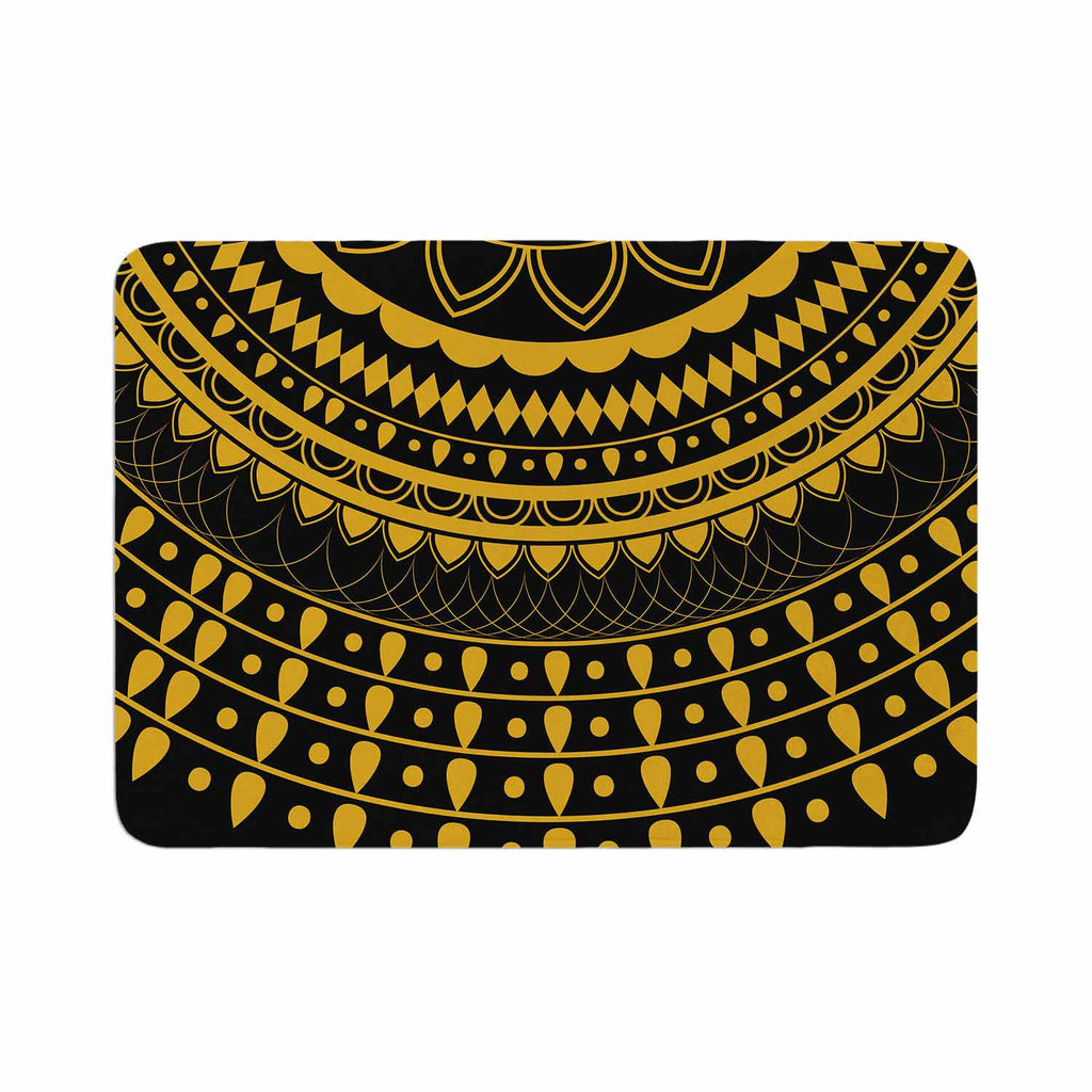 "Famenxt ""Golden Vibes Mandala"" Gold Black Digital Memory Foam Bath Mat"