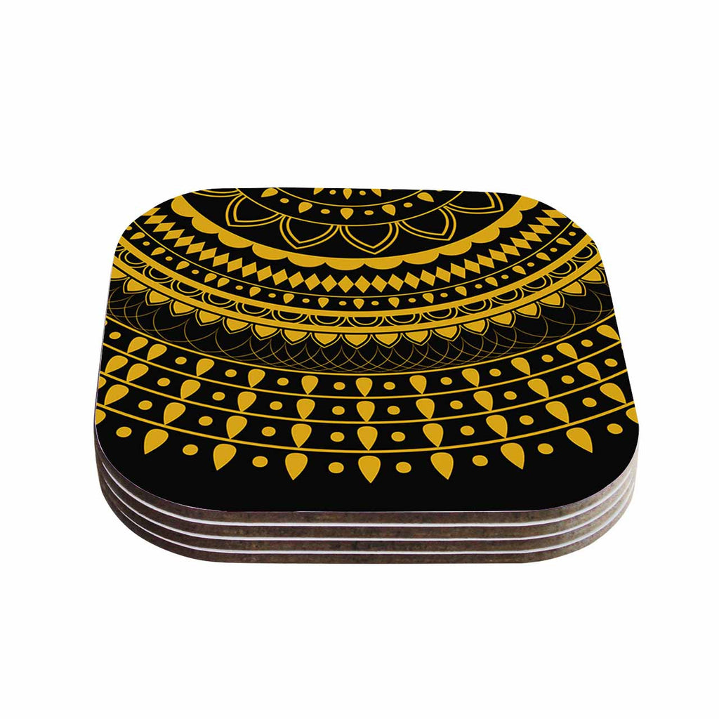 "Famenxt ""Golden Vibes Mandala"" Gold Black Digital Coasters (Set of 4)"