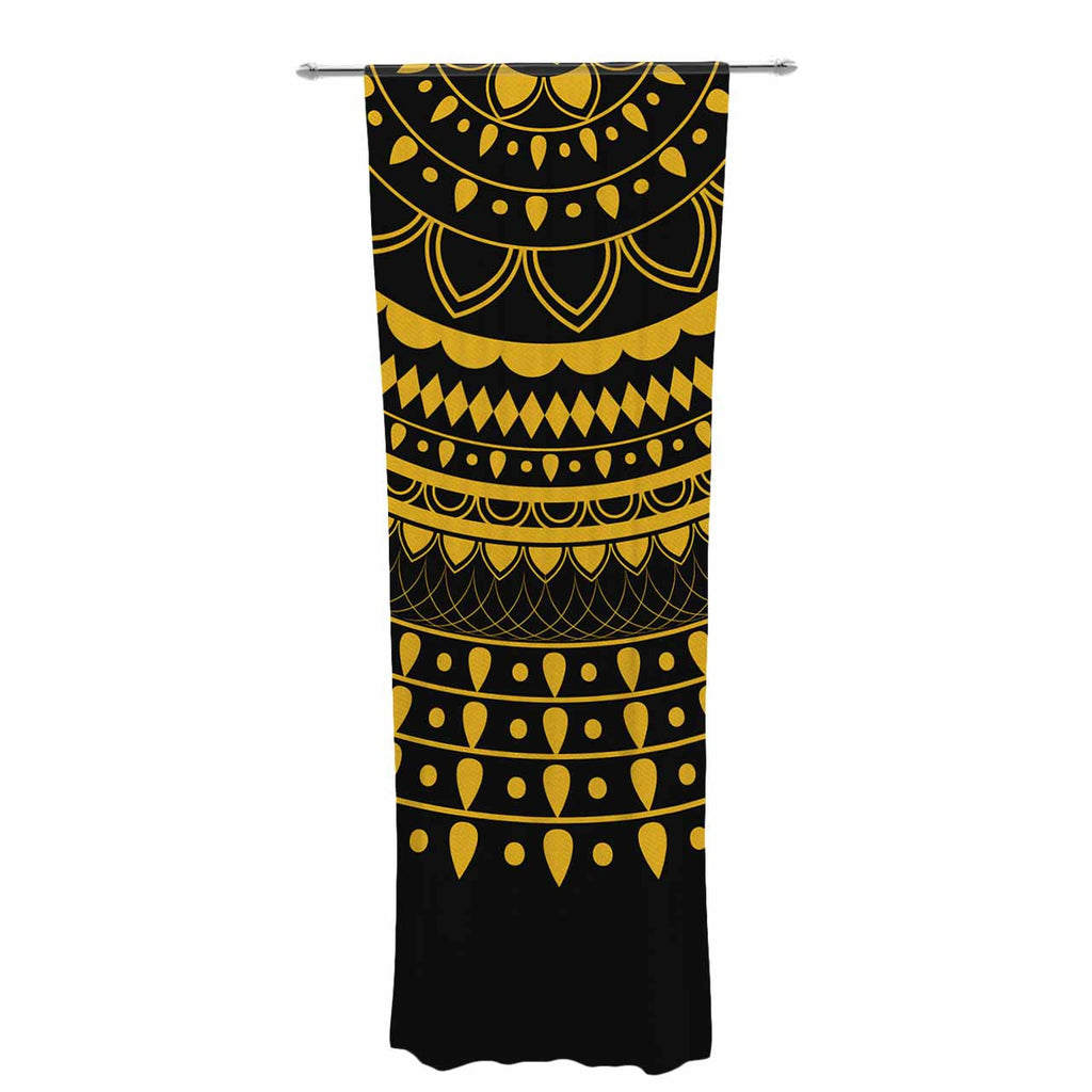 "Famenxt ""Golden Vibes Mandala"" Gold Black Digital Decorative Sheer Curtain"