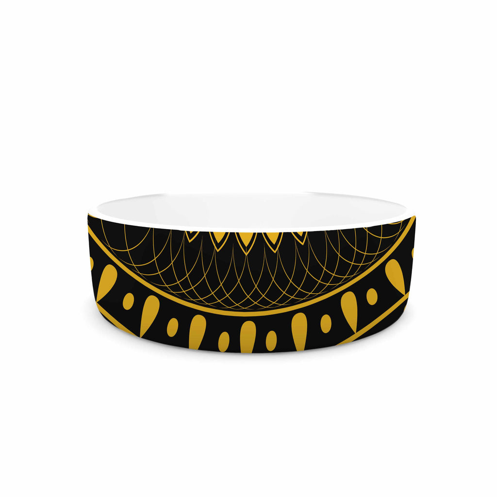 "Famenxt ""Golden Vibes Mandala"" Gold Black Digital Pet Bowl"