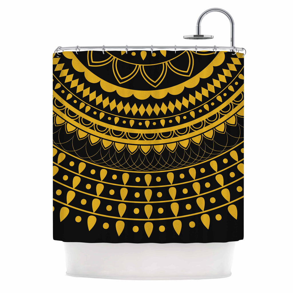 "Famenxt ""Golden Vibes Mandala"" Gold Black Digital Shower Curtain"