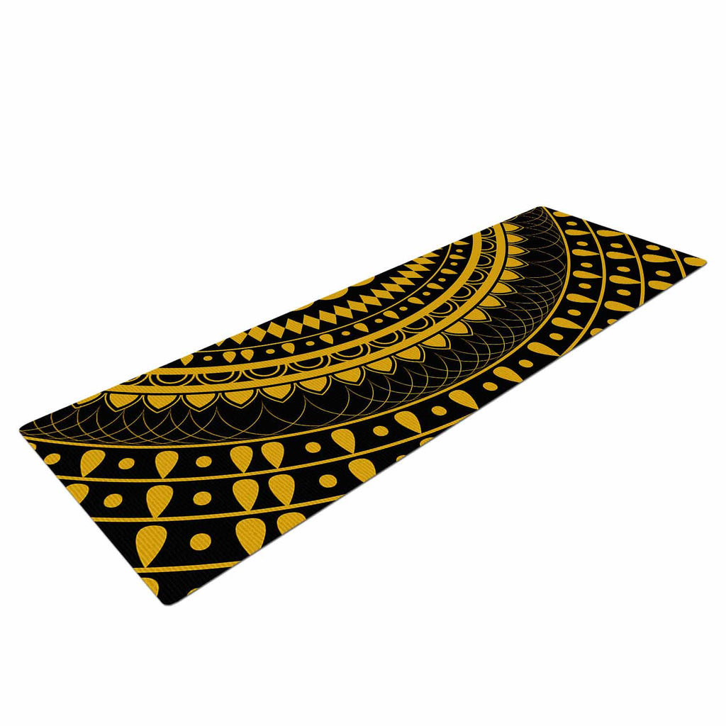 "Famenxt ""Golden Vibes Mandala"" Gold Black Digital Yoga Mat"