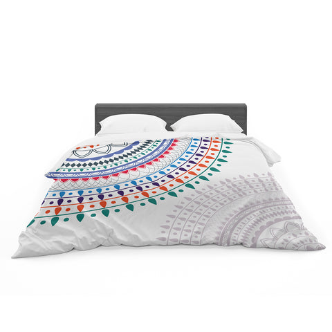 "Famenxt ""Tribes Vibes Mandala"" White Multicolor Pattern Featherweight Duvet Cover"