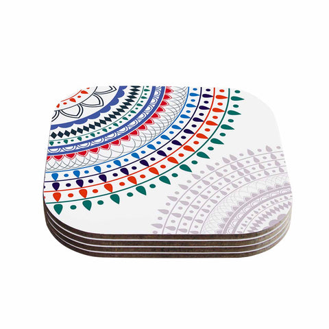 "Famenxt ""Tribes Vibes Mandala"" White Multicolor Pattern Coasters (Set of 4)"