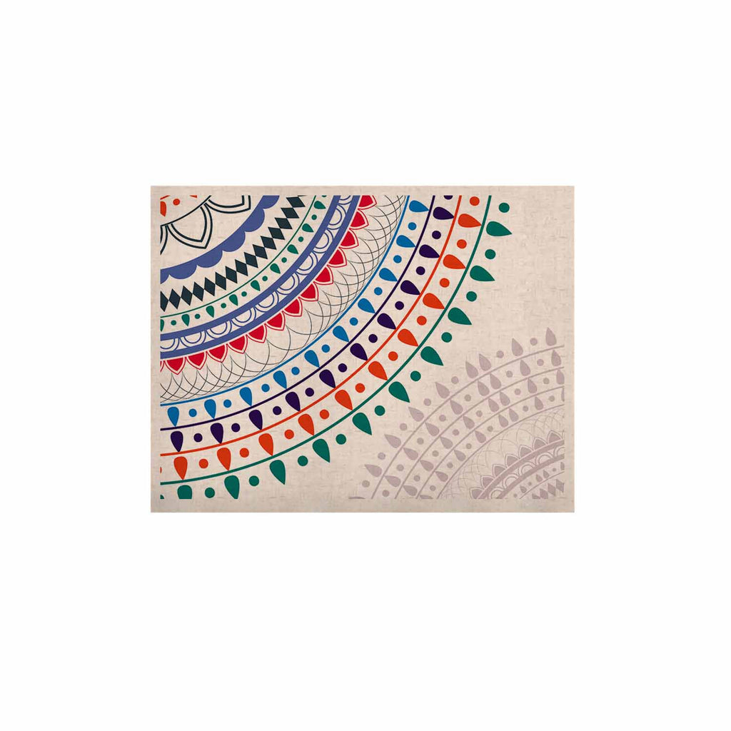"Famenxt ""Tribes Vibes Mandala"" White Multicolor Pattern KESS Naturals Canvas (Frame not Included)"