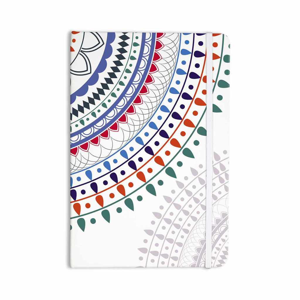 "Famenxt ""Tribes Vibes Mandala"" White Multicolor Pattern Everything Notebook - KESS InHouse  - 1"