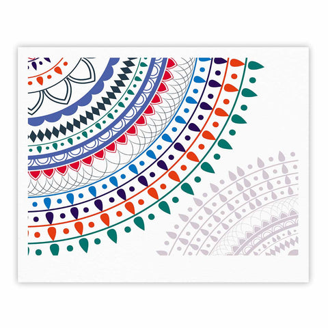 "Famenxt ""Tribes Vibes Mandala"" White Multicolor Pattern Fine Art Gallery Print"