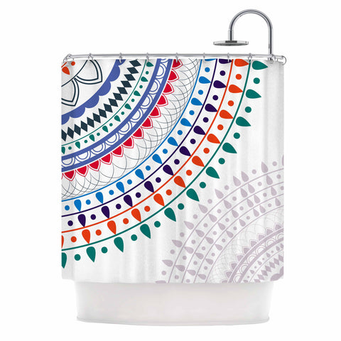 "Famenxt ""Tribes Vibes Mandala"" White Multicolor Pattern Shower Curtain"