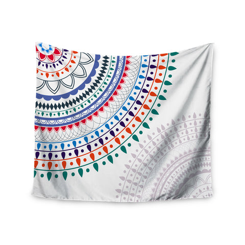 "Famenxt ""Tribes Vibes Mandala"" White Multicolor Pattern Wall Tapestry - KESS InHouse  - 1"