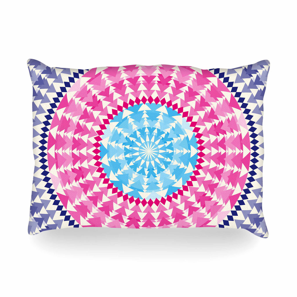 "Famenxt ""Mandala Pink Blue"" Pink Blue Illustration Oblong Pillow"