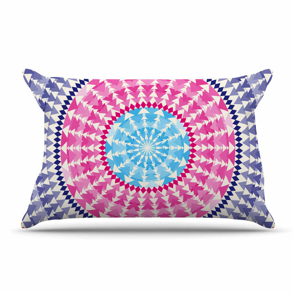 "Famenxt ""Mandala Pink Blue"" Pink Blue Illustration Pillow Sham"
