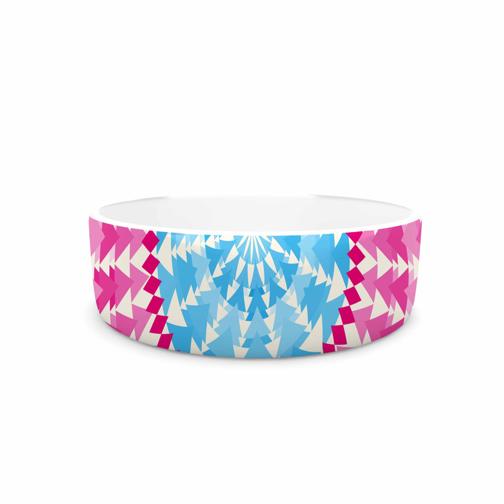 "Famenxt ""Mandala Pink Blue"" Pink Blue Illustration Pet Bowl"