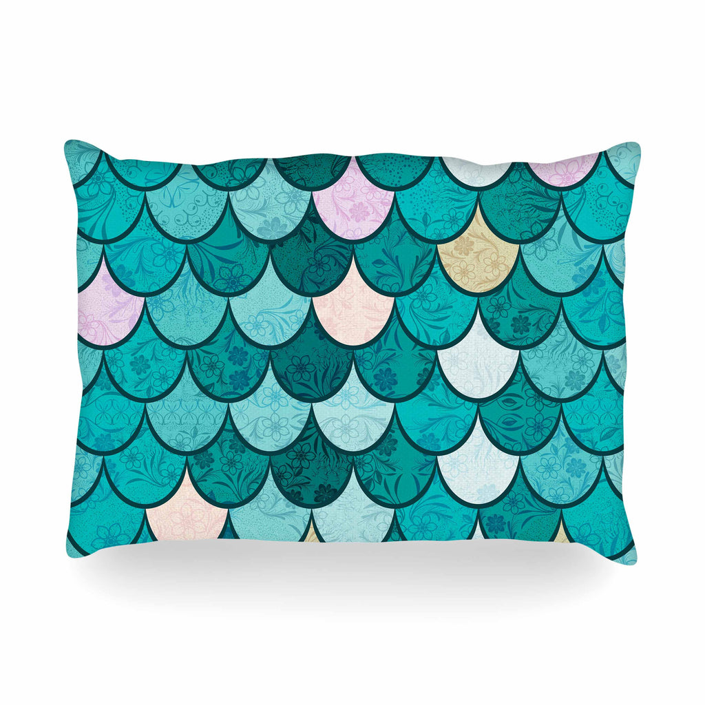 "Famenxt ""Mermaid Fish Scales"" Teal Nautical Illustration Oblong Pillow"