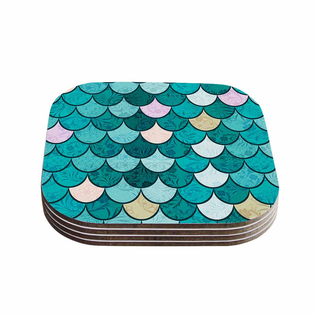"Famenxt ""Mermaid Fish Scales"" Teal Nautical Illustration Coasters (Set of 4)"
