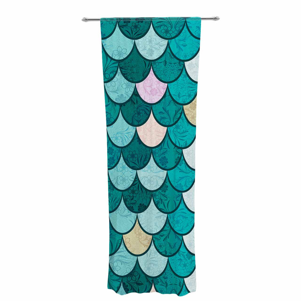 "Famenxt ""Mermaid Fish Scales"" Teal Nautical Illustration Decorative Sheer Curtain"