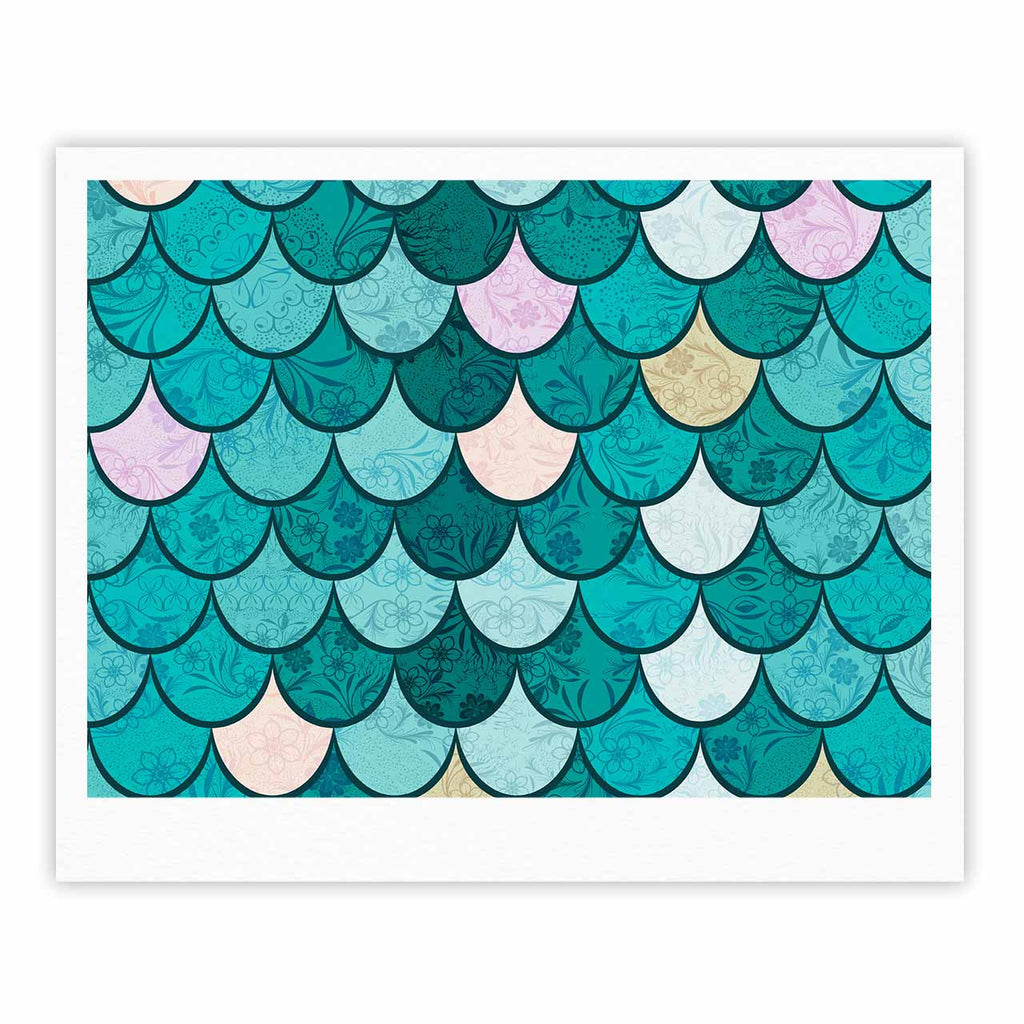 "Famenxt ""Mermaid Fish Scales"" Teal Nautical Illustration Fine Art Gallery Print"