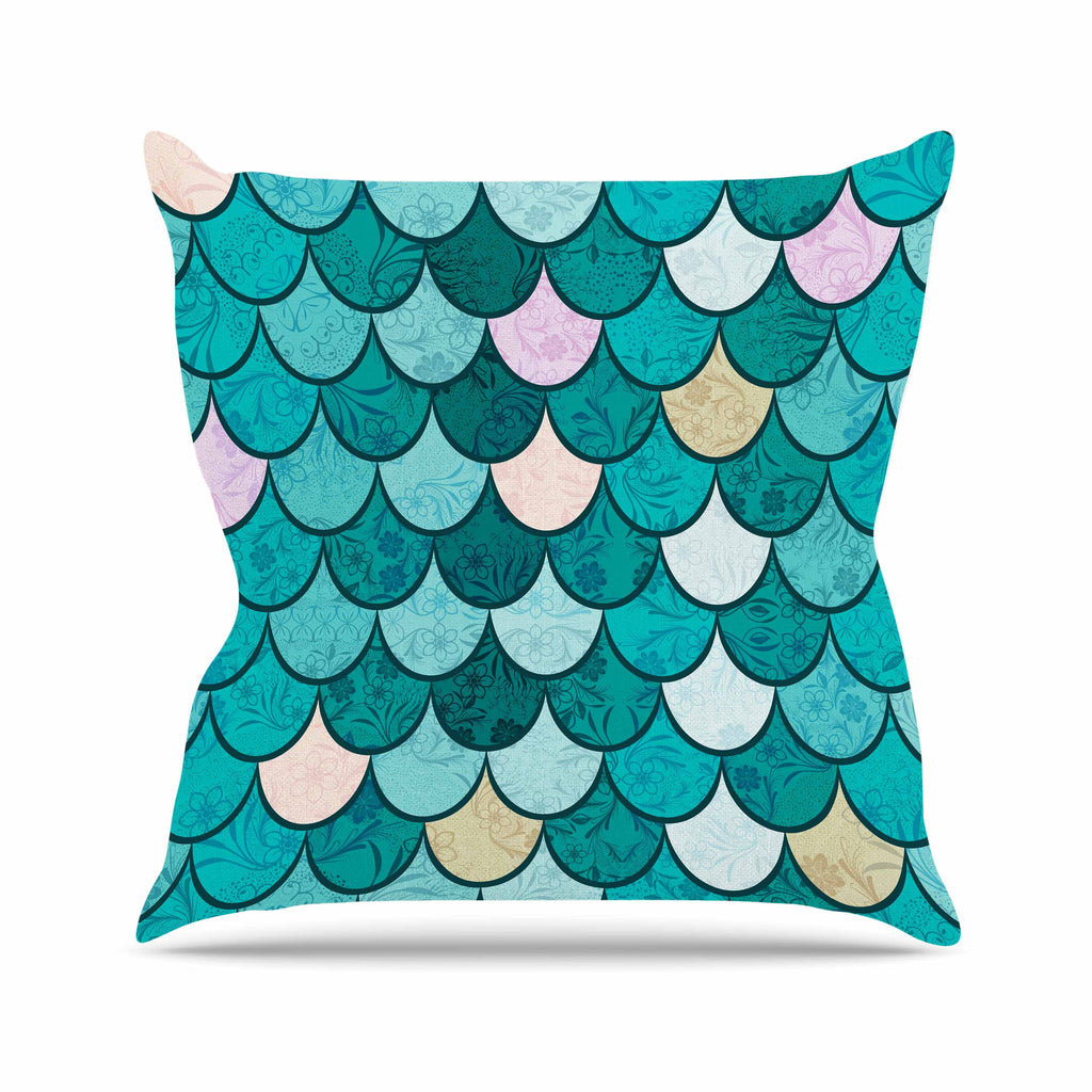 "Famenxt ""Mermaid Fish Scales"" Teal Nautical Illustration Outdoor Throw Pillow"
