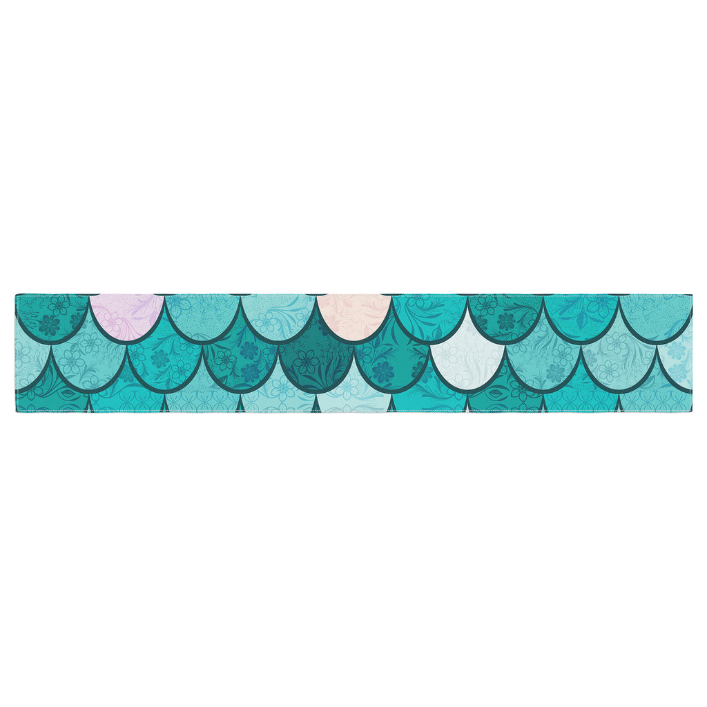 "Famenxt ""Mermaid Fish Scales"" Teal Nautical Illustration Table Runner"